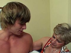 Good looking stud was picked up by these horny granny for a different reason. For the longest time not having a dick into her pussy she invited this teen to fuck her with no limits.
