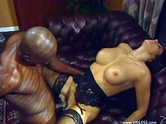 Get a boner by watching this pornstar, with a nice ass wearing nylon stockings, while she goes hardcore over a leather couch and moans stridently.
