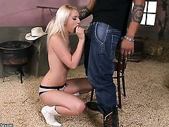 Blonde gives giving oral pleasure to horny guy