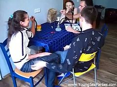 Bong session turned into wild group sex for these two naughty teen couples. Watch how these two getting wild on their partners and fucking and switching at the same time.