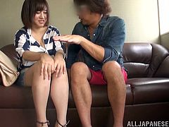 Get a load of this Asian babe's amazing breasts in this hardcore scene where she's eaten out by this guy before being fucked.