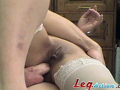 Watch this horny babe fingering herself and getting very wet before she's fucked up her tight ass by a guy while wearing stockings.