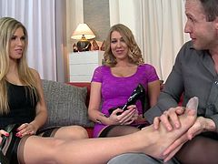 Wanton fair haired tramps give nice BJ and foot job to that kinky guy