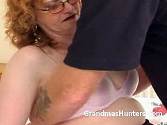 Grandmas Hunters brings you a hell of a free porn video where you can see how an alluring redheaded mature gives a great blowjob while assuming very interesting poses.