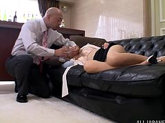 Japanese secretary Rina Rukawa is sleeping at her work place in hardcore reality clip. Rina's boss unbuttons the girl's blouse and plays with her tits. After that they fuck in the cowgirl pose on the floor.