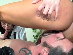 The gorgeous babes Misti Dawn and India Summer take good care of this lucky dude as they suck on his hard cock while they sit on his face.