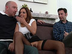The sexy MILF Cece Stone enjoys getting her pussy and her asshole drilled in a rough double penetration in this nasty threesome with two hung dudes.