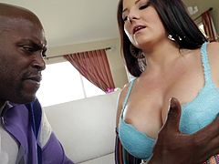 Get excited by watching this brunette chick, with giant boobs wearing a cute bra, while she goes really hardcore with a black fellow.