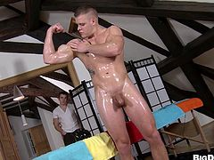 Quick-witted masculine gay oils her handsome body before sucking a cock and pounding a tight ass impressively indoor