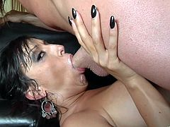 Blonde enchantress and curvaceous divine brunette rides two massive cocks. Then they suck two cocks and get poked mish. So blonde goddess gets her pussy creampied and dark-haired slut gets a load of cum on her perfect tits.