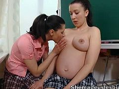 She Made Us Lesbians brings you a hell of a free porn video where you can see how a horny pregnant teen and her gf play with a mature babe while assuming hot poses.