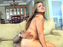 Leilani Lei gives this guy some great head then she takes every inch of his cock in her tight little pussy and cums all over it.