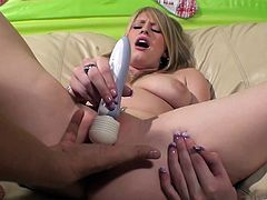 The beautiful Allie James rides this dude's hard cock after getting her delicious pussy fingered and toyed with a big vibrator.