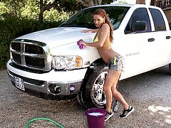 Bro, do you want Sheila Grant to wash you car? I guess you are. Cuz this breathtaking enchantress has big natural boobs and smooth ass! She knows how to make horny each man!