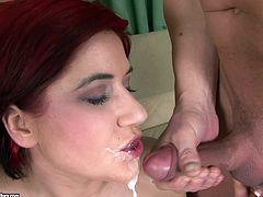 Be part of this reality video where a redhead pornstar, with natural boobs wearing high heels, while she goes hardcore with a bunch of horny guys.