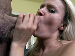 A beautiful young blonde with long hair, petite natural tits and a shaved pussy enjoys a hardcore cowgirl style fuck on her sofa.