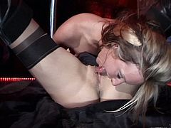 Rapacious light-haired wench and stunning brunette slut spread their legs to masturbate their wet pussies. Afterwards they have oral sex in 69 pose.
