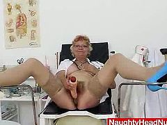 Be part of this reality clip where an old lady, with big knockers wearing her nurse uniform, while she plays with nasty toys until she cums.