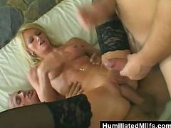 Cougar blonde babes in stockings giving a blowjob in a swingers foursome group sex then gets drilled doggystyle before giving a tit job
