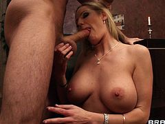 Perky blonde milf with big fake tits giving a superb blowjob then a sensual tit job before getting her hairy pussy drilled hardcore
