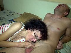 Prepare your cock for this brunette mature lady, with small boobs wearing glasses, while she has a threesome with a dirty girl and a nasty fellow.