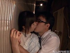 Yua Kuramochi is tasked to suck a dick in an abandoned place. She takes the cock in her mouth deep throat for a hardcore blowjob.