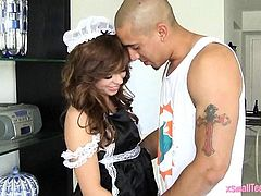 Teen maid Aurora Monroe fucked and facialed by big cock