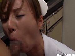 Witness this Asian babe, with natural boobs wearing her nurse uniform, while she serves a yummy blowjob and masturbates fervently.