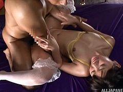 Japanese chick Mei Hayama is getting pounded while hands tied up. She gives a hot and wild blowjob and gets a doggystyle fuck.