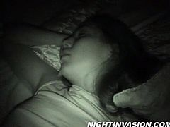 Sleeping lady gets her hairy pussy fingered with a horny guy before giving him a superb blowjob in a homemade amateur porn