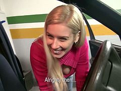 The gorgeous blonde babe Ellen gives a yummy blowjob and gets drilled doggystyle just how she likes it in a parking lot.