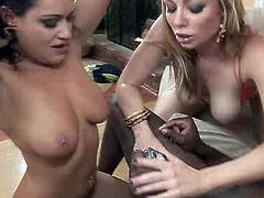 Raven haired torrid bitch and blond lusty hooker blow one BBC