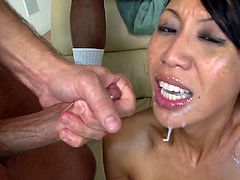 Dark haired lady with fake tits swallows multiple dicks before getting her shaved pussy gang-banged hardcore till the dudes cum in her mouth