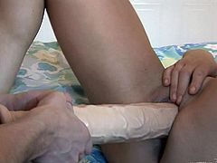 The smoking hot stud gets to play with a mature bitch. He spreads her legs and stabs that penis deep into her ass and bangs her well.
