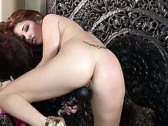 Sabrina Maree with huge knockers and trimmed snatch having fun with vibrator