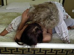 experienced old lesbian feasts on a younger one