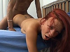 This sexy redhead enjoys every inch of that cock up her sweet little pussy and ends up getting her mouth filled with cum dripping down her chin.