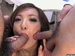 Go wild as you watch this Asian babe, with natural breasts wearing nylon pantyhose, while she gets gangbnged hard after playing with a toy.