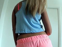 Like every woman, Coco likes to hear nice thoughts about her body. Her boyfriend decided to make a video of her booty dancing. While she dances he gets a boner so he removes her panties and starts playing with her amazing ass. She seems to like that so she takes off all of her clothes, and gives the guy a blowjob.