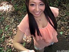 The Japanese hottie was invited for a blowjob task outdoors in the forest. This amateur babe takes the cock like a porn pro for a cum in the mouth.