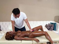 Ebony Cowgirl Aroused As He Massages Her Then Gets Fucked