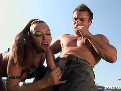 Have fun watching this femdom, with a nice ass wearing high heels, while she controls the situation and has wild sex with a tough fellow.