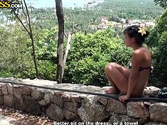 Bella loves to admire a natural landscape, just like we like to admire her sexy body and that shaved snatch between her thighs. Yeah, look at her relaxing and enjoying herself so much. Maybe she will receive a nice big cock and really get in touch with nature, better said with her natural state.