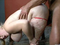 Marvelous BBW with hot ass in red fishnets gives her guy a superb titjob before getting her juicy pussy drilled hardcore