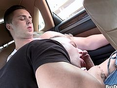 A sexy gay guy with short blonde hair and a fantastic body enjoys a mind-blowing cock suck in public. See him cum right now!