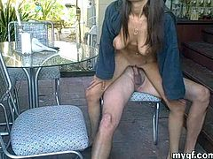 Have fun with this hardcore scene where this busty babe sucks on this guy's hard cock before being fucked by this guy outdoors.