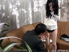 She did not expect that she could be joined with a guy for a hot pussy masturbation on the couch. This Asian porn scene gets hotter with the couple starting to bang.