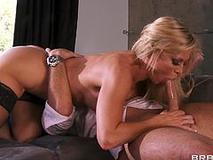 Lovely cougar in nylon stockings and sexy lingerie aroused as he licks her pussy then bends over for a doggy style hardcore fuck