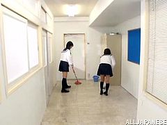 This Japanese hotties were told to clean the room but they ended up enjoying themselves with one huge cock for a threesome fuck action.