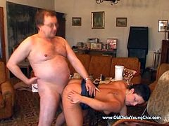 Make sure you check out this amateur video where this busty brunette sucks on this old man's hard cock before being fucked silly.